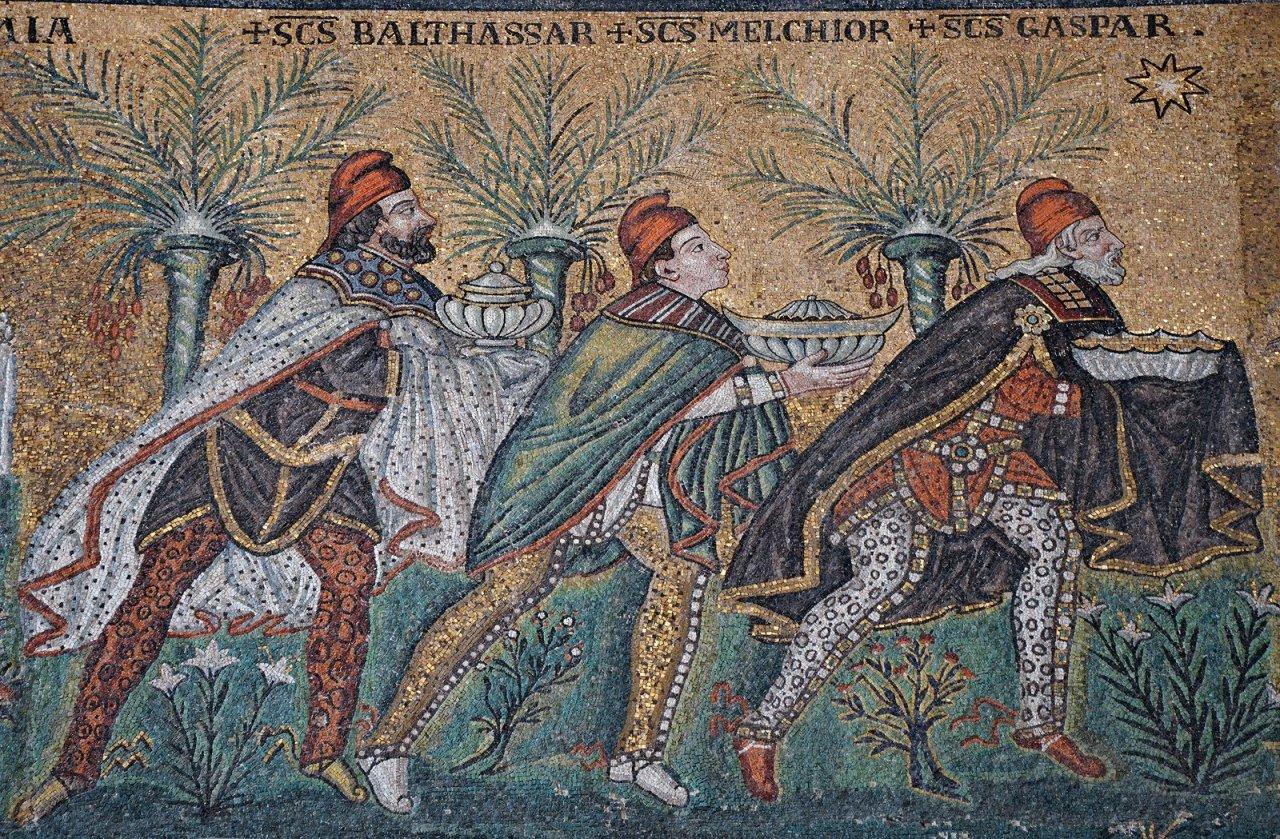 A háromkirályok imádása a betlehemi csillaggal a ravennai Sant'Apollinare Nuovo bazilika mozaikján (6–7. század)